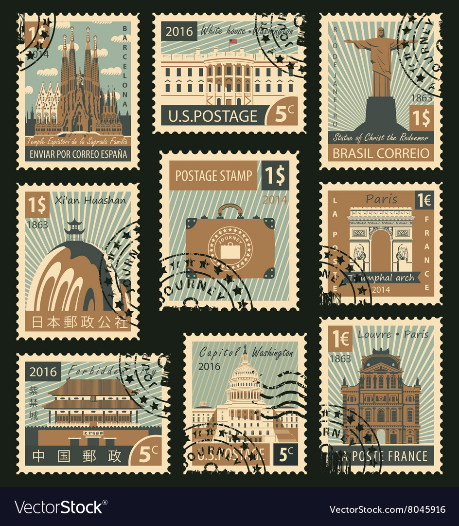 Stamps with different architectural attractions