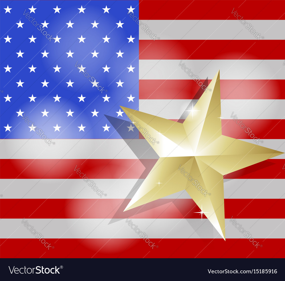 Star for success on united states of america flag vector image