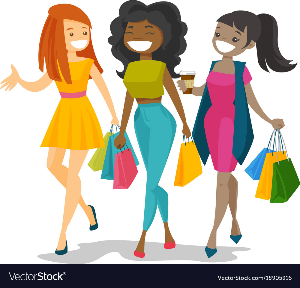 890d3c37f Young happy multicultural women shopping together Vector Image