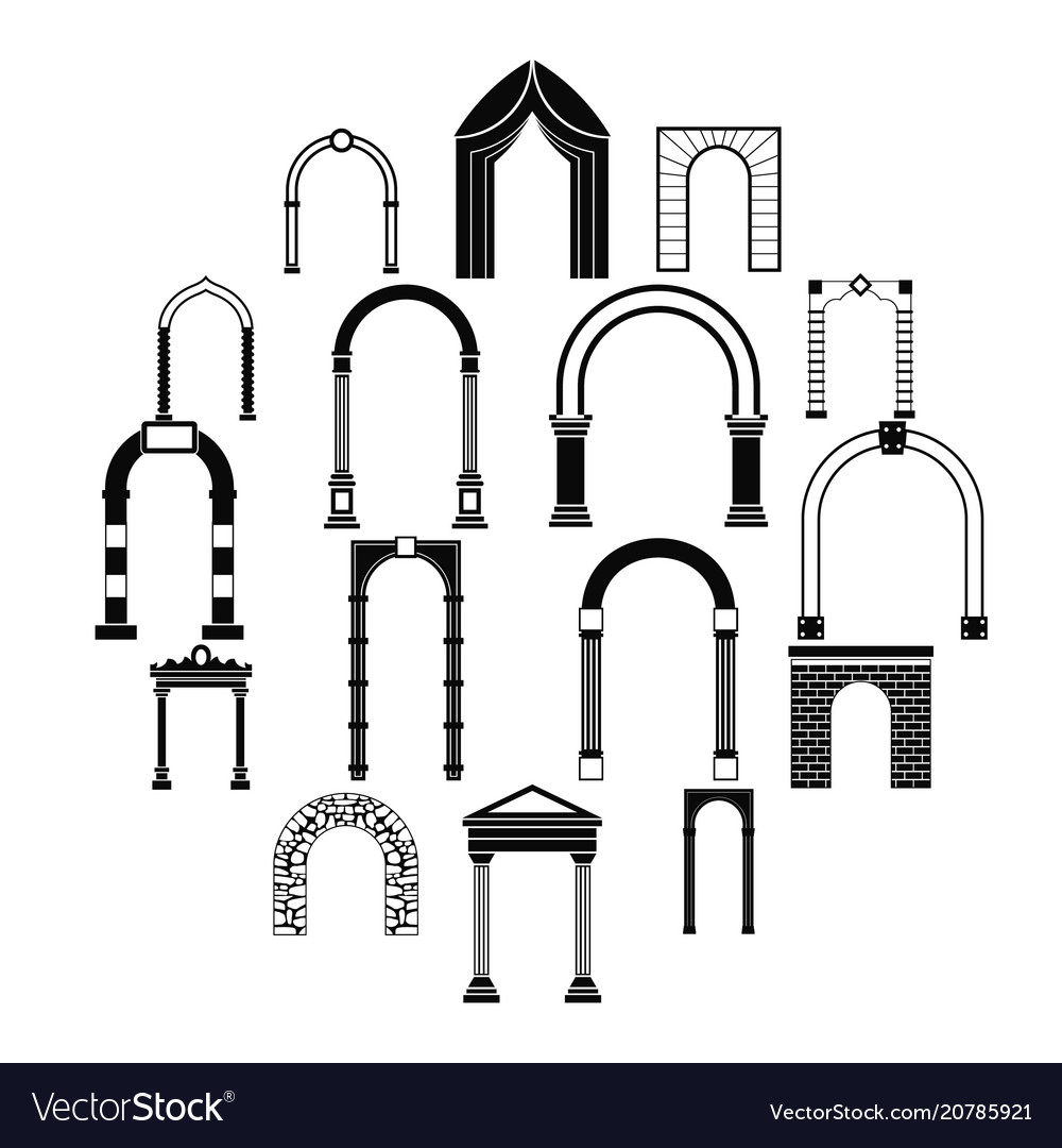 Arch set icons simple style vector image