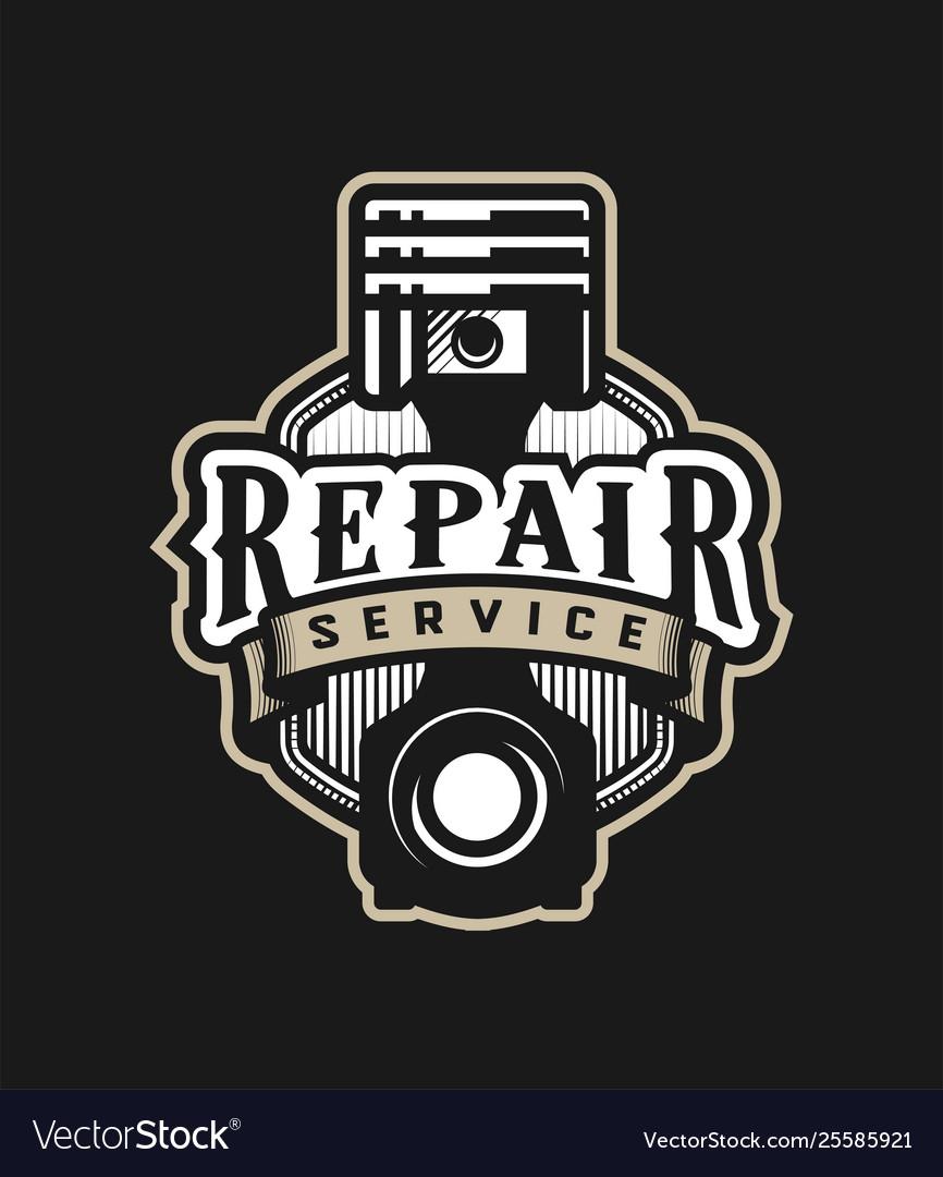 Auto repair service car logo emblem on a dark