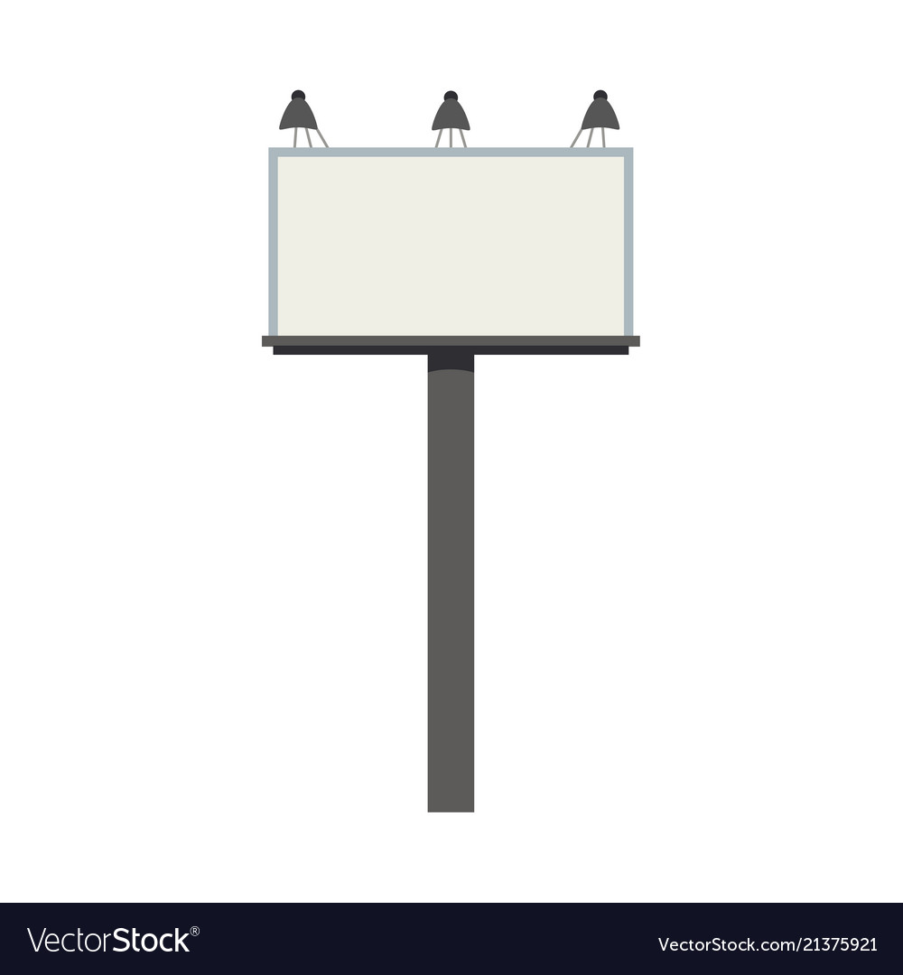 Big blank city billboard with lamps and empty