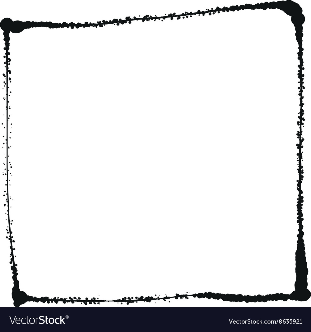 Black grunge frame isolated on the white