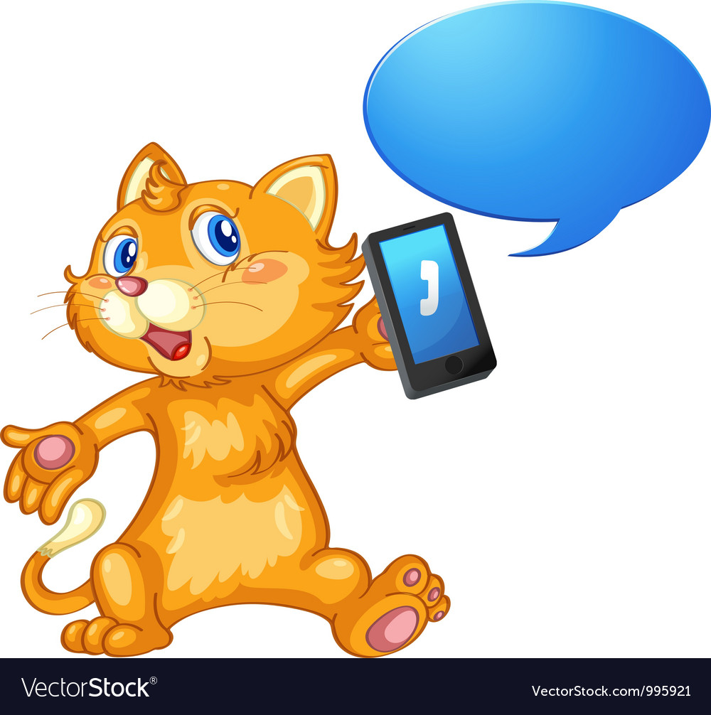 Cat with cell phone vector image