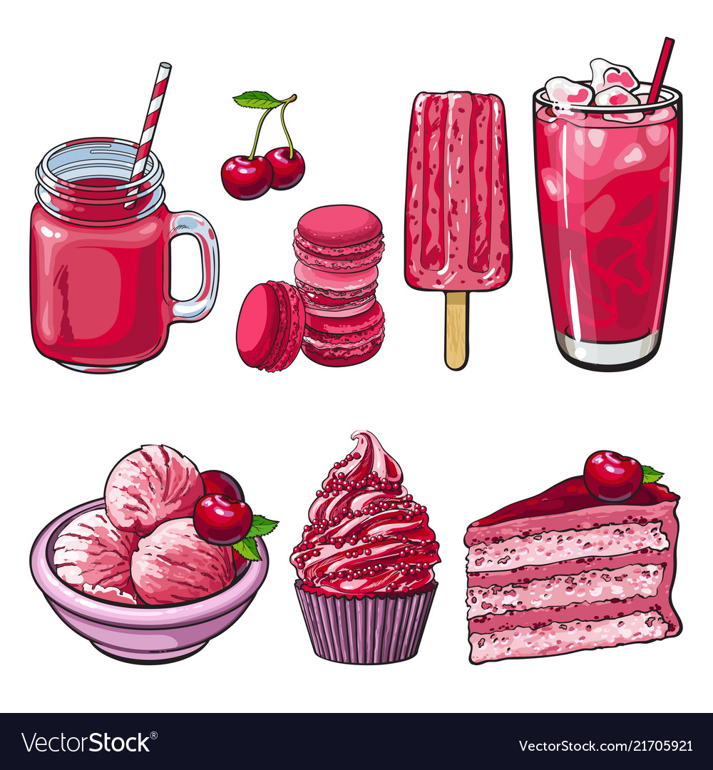 Cherry desserts set in sketch style isolated on