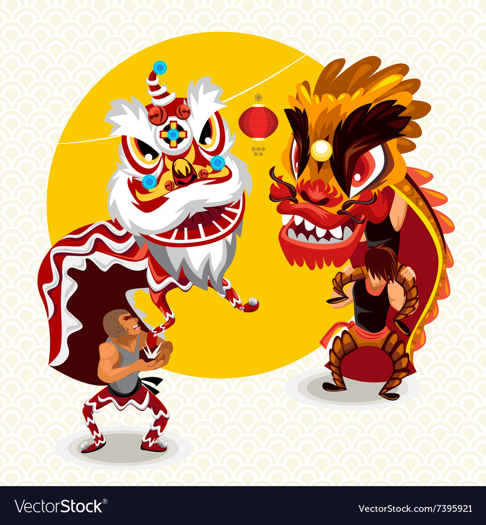 ce8d2a2d4 Chinese Lunar New Year Lion Dance Fight Royalty Free Vector