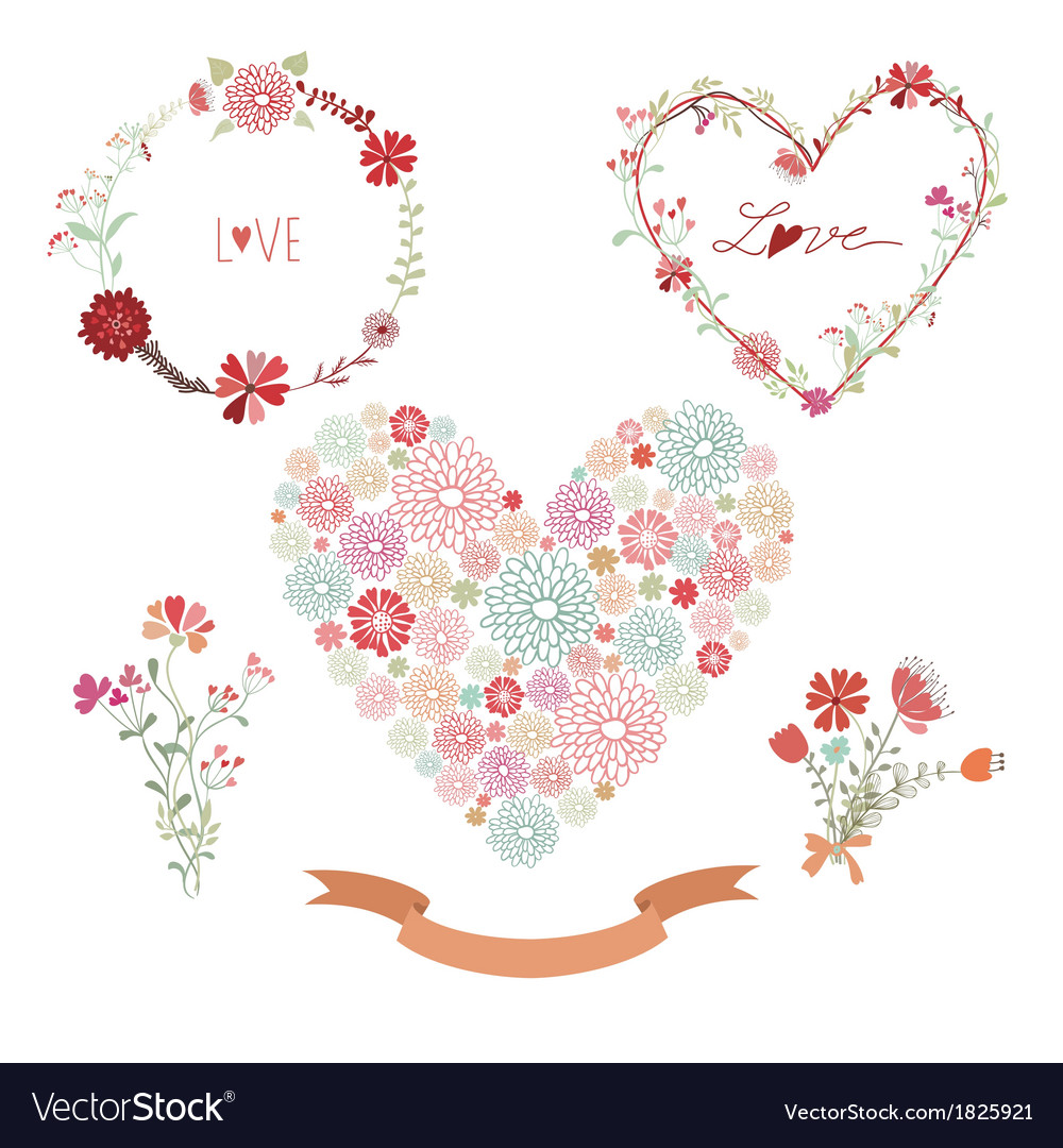 Floral frames and heart with flowers Royalty Free Vector