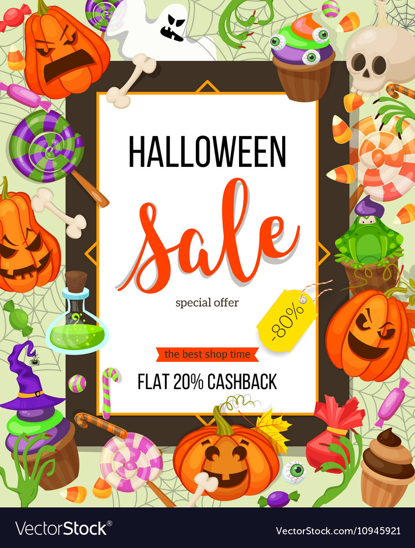 Halloween sale offer design template