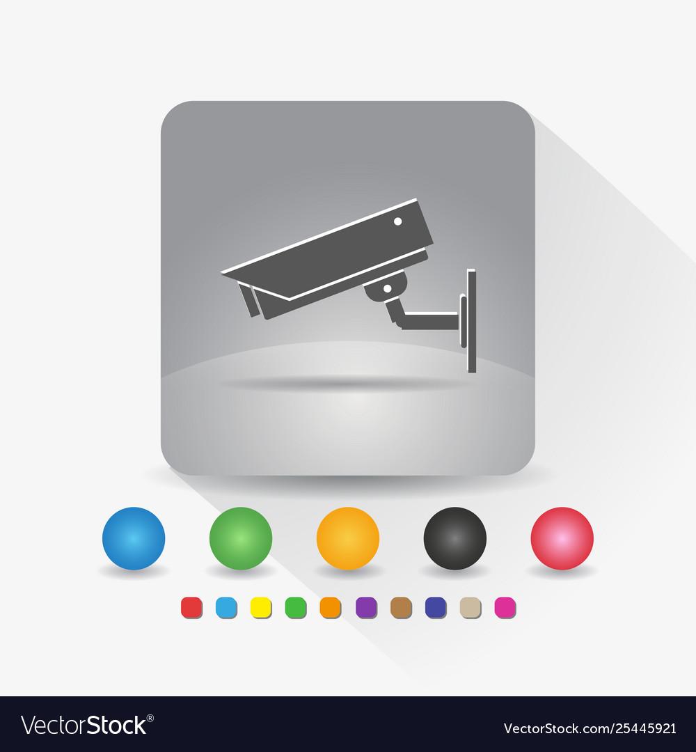 Security camera icon sign symbol app in gray