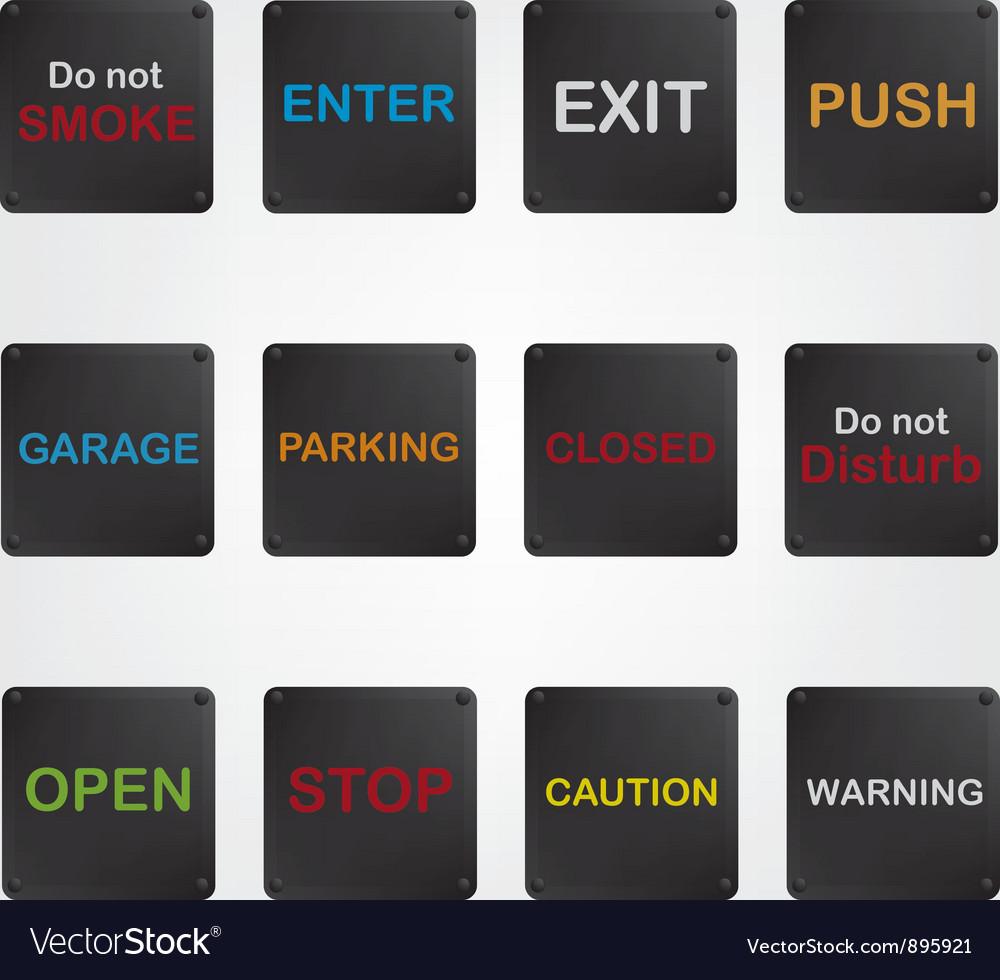 Signs black vector image