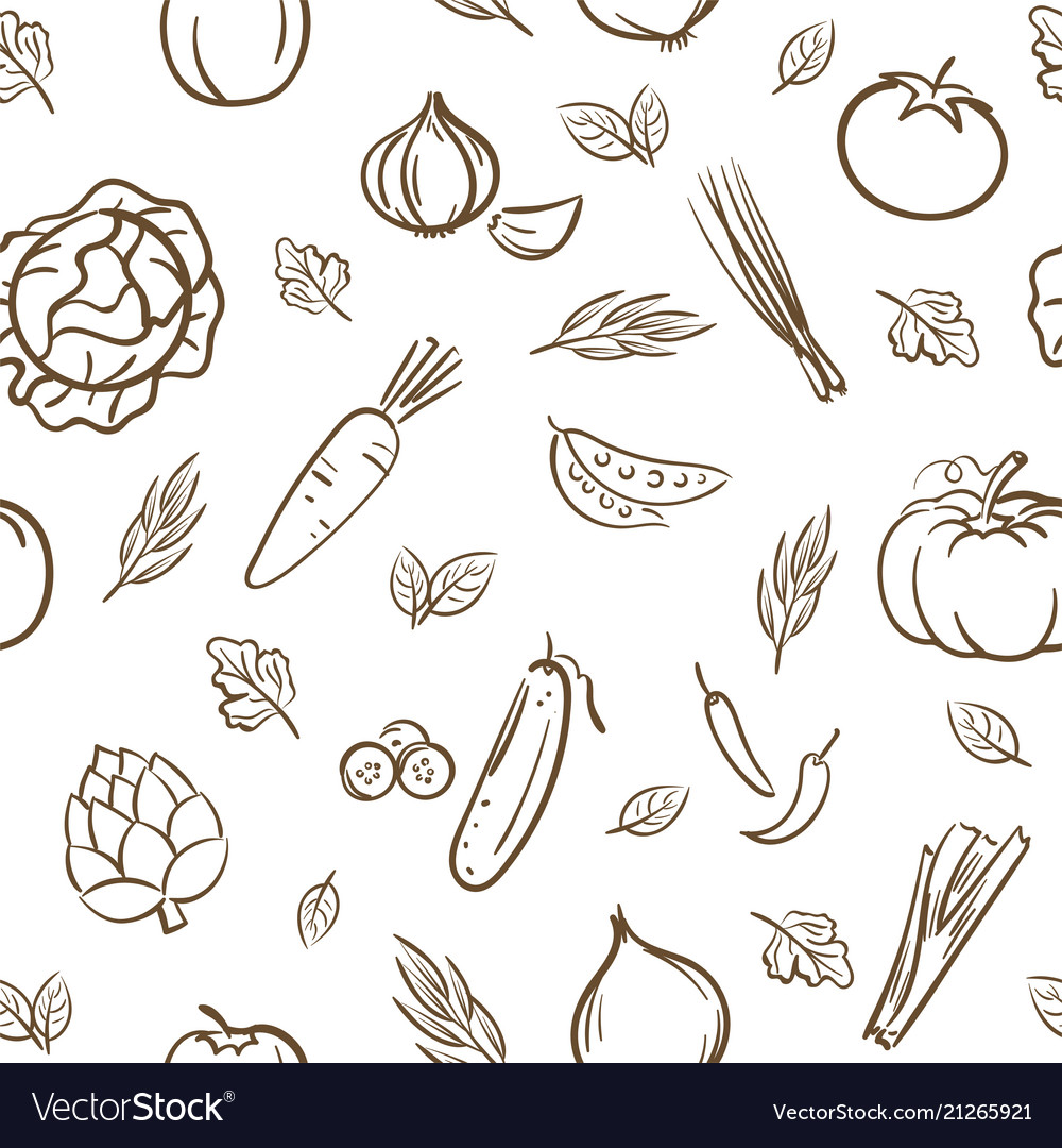 Sketch of cute mix vegetables seamless pattern