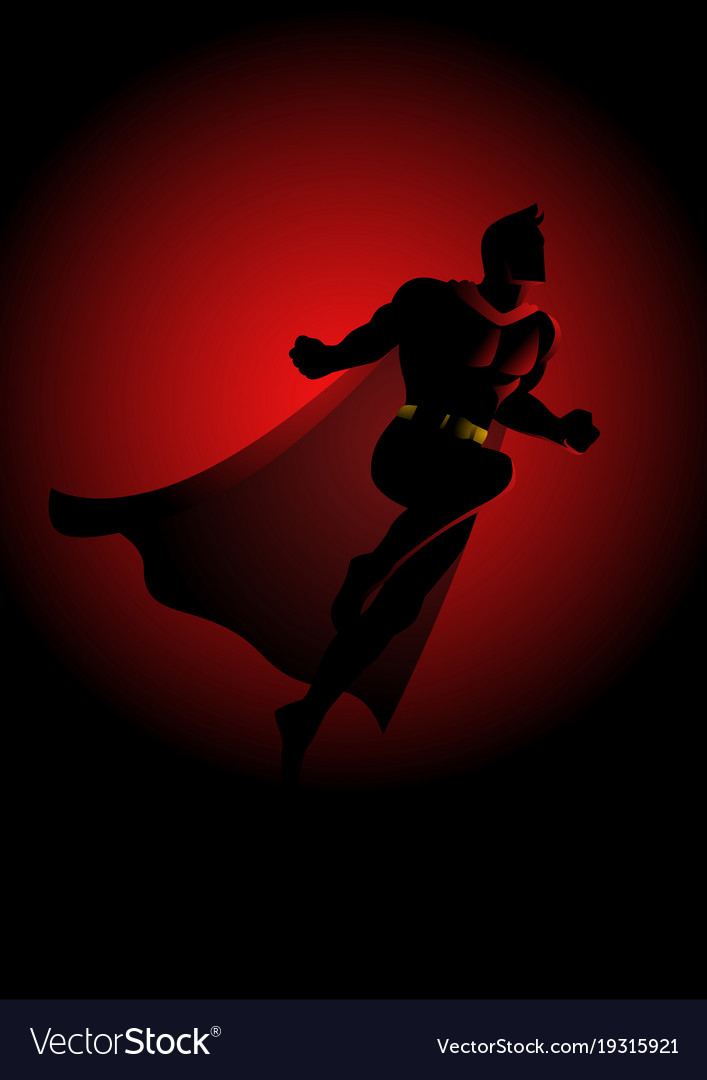 Superhero flying on dramatic red background vector image