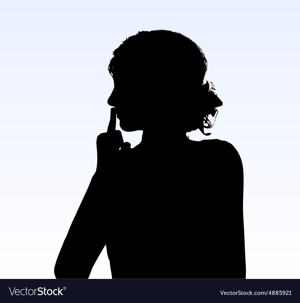 Woman silhouette with hand gesture hush