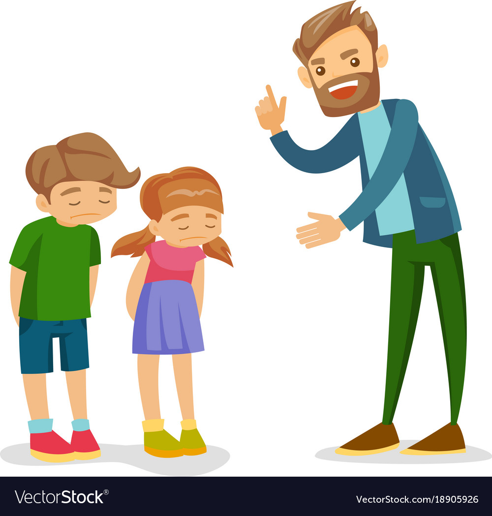 angry caucasian white father scolding his children rh vectorstock com children victoria's secret children victorian era