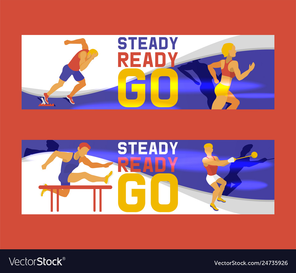 Athlete man set banners