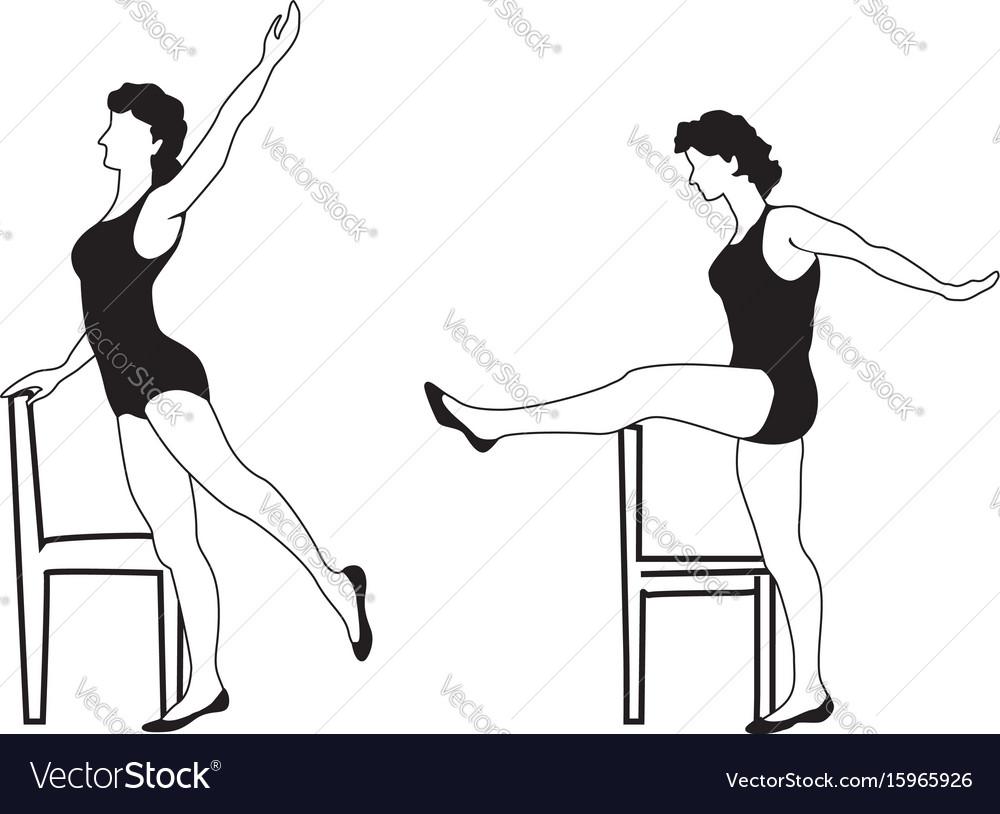 Elegant women silhouettes doing fitness exercises