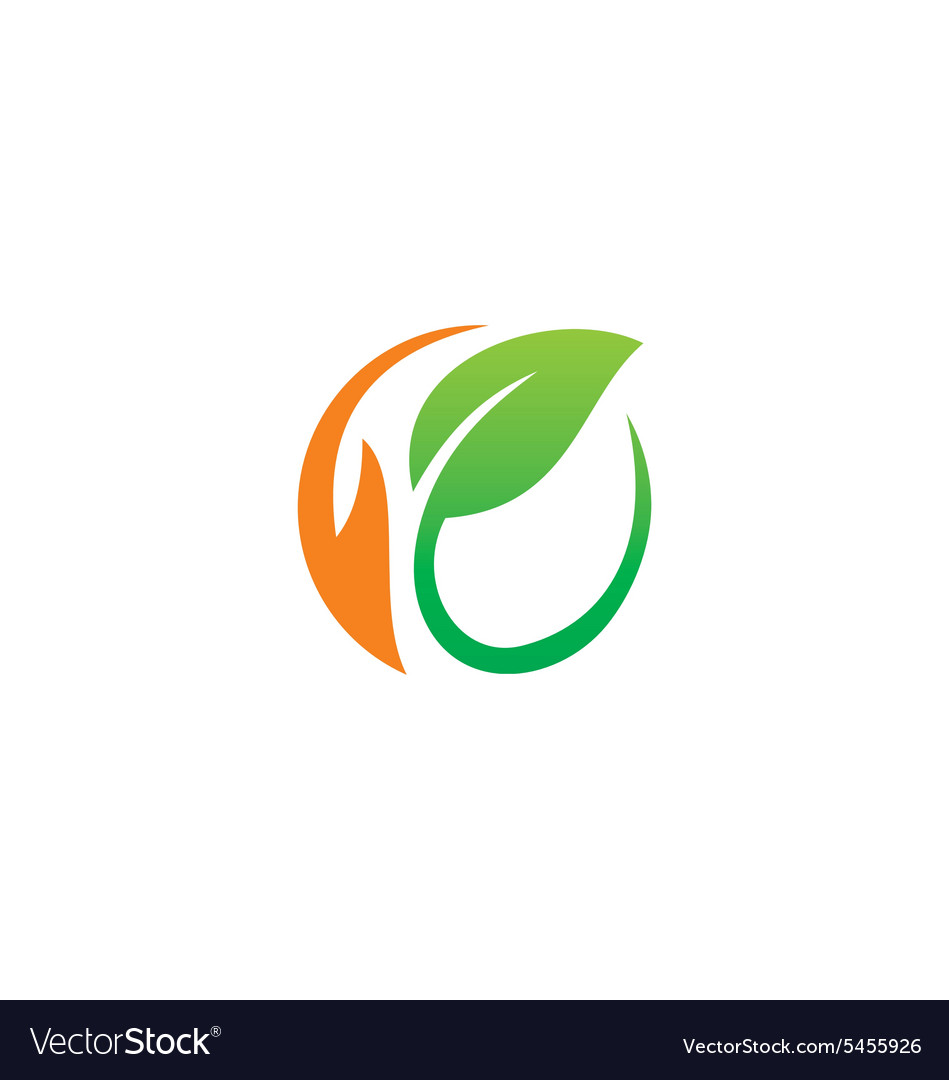 Leaf round abstract ecology logo