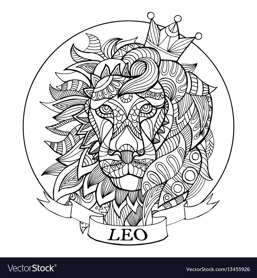 Lion zodiac sign coloring book Royalty Free Vector Image