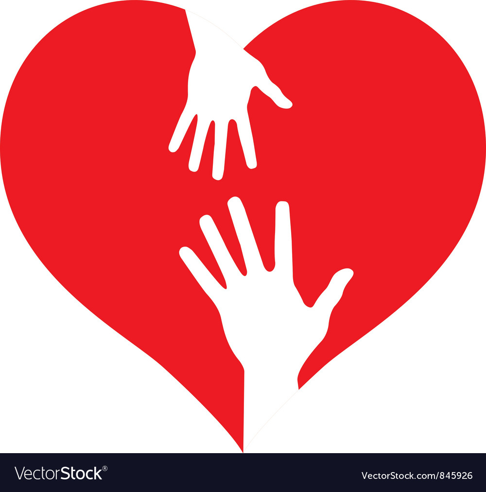 Parent and baby hands on heart vector