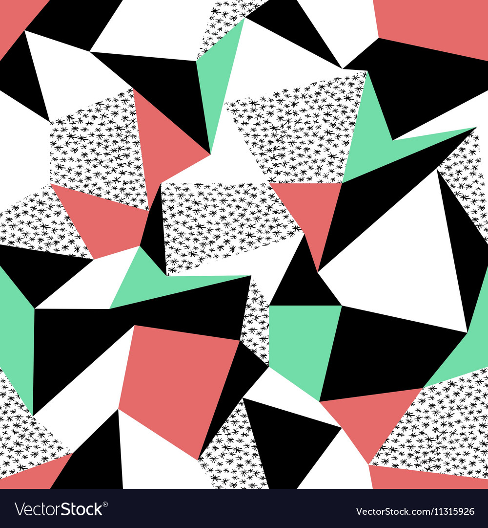 Pink and green triangles pattern design Seamless