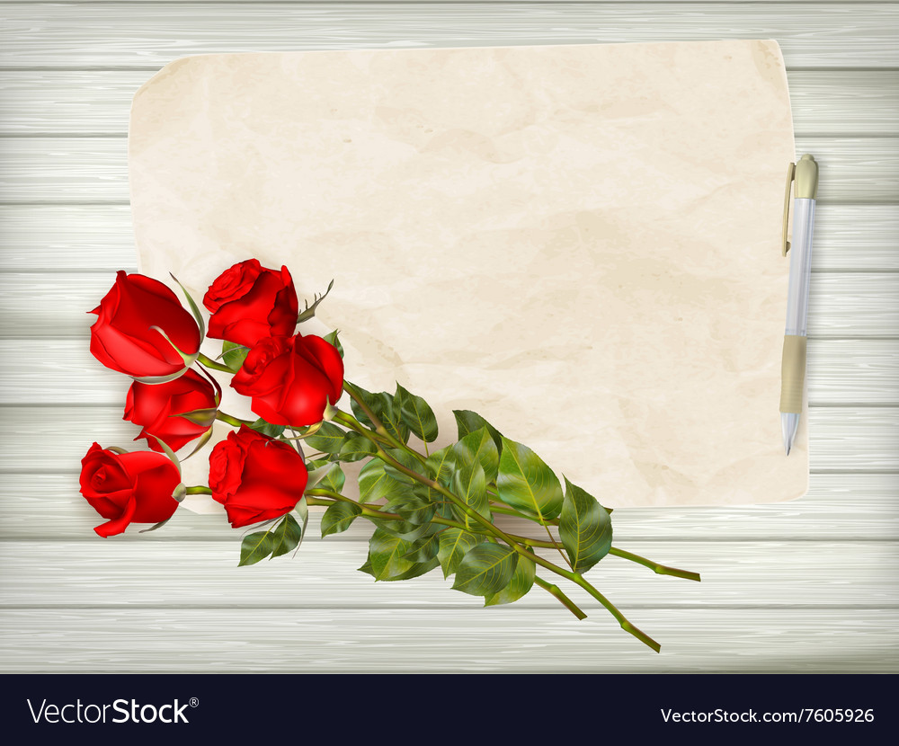 Roses on wooden background EPS 10