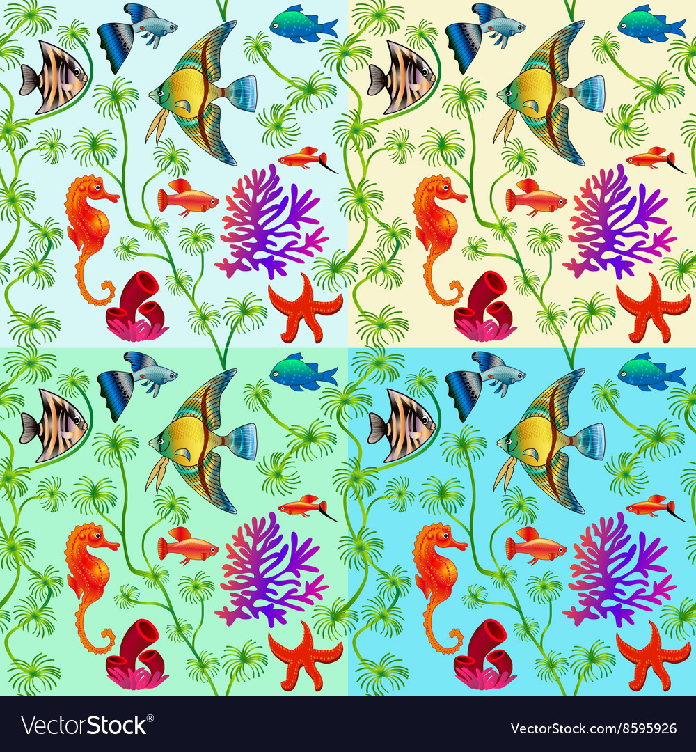 Set of seamless patterns of marine life with color