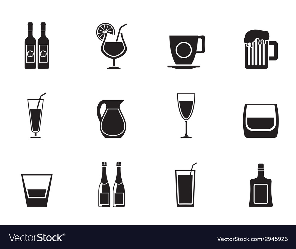 Silhouette different kind of drink icons