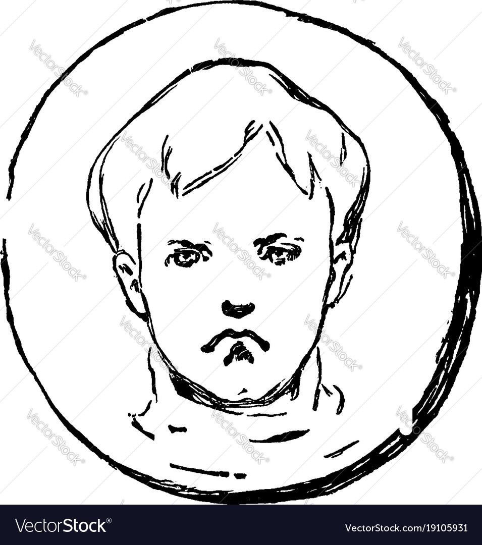 A frown sad boy face vintage engraving