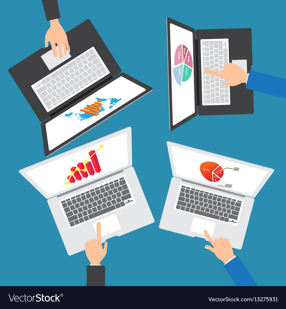 Business people team working on an office vector image
