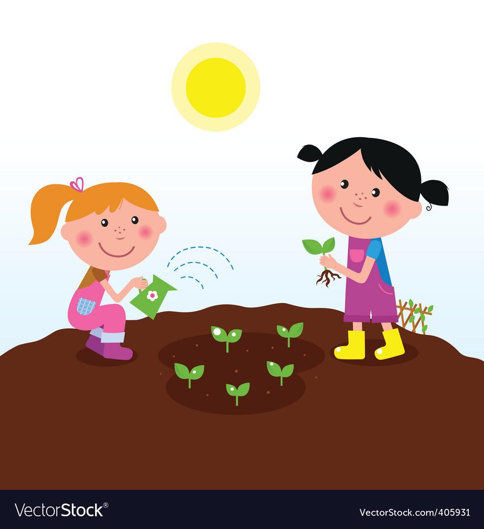 Children in garden vector image