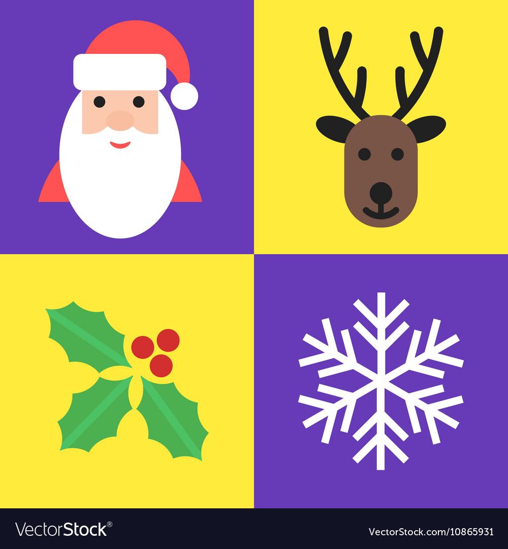 Christmas holiday symbols - santa deer holly and vector image