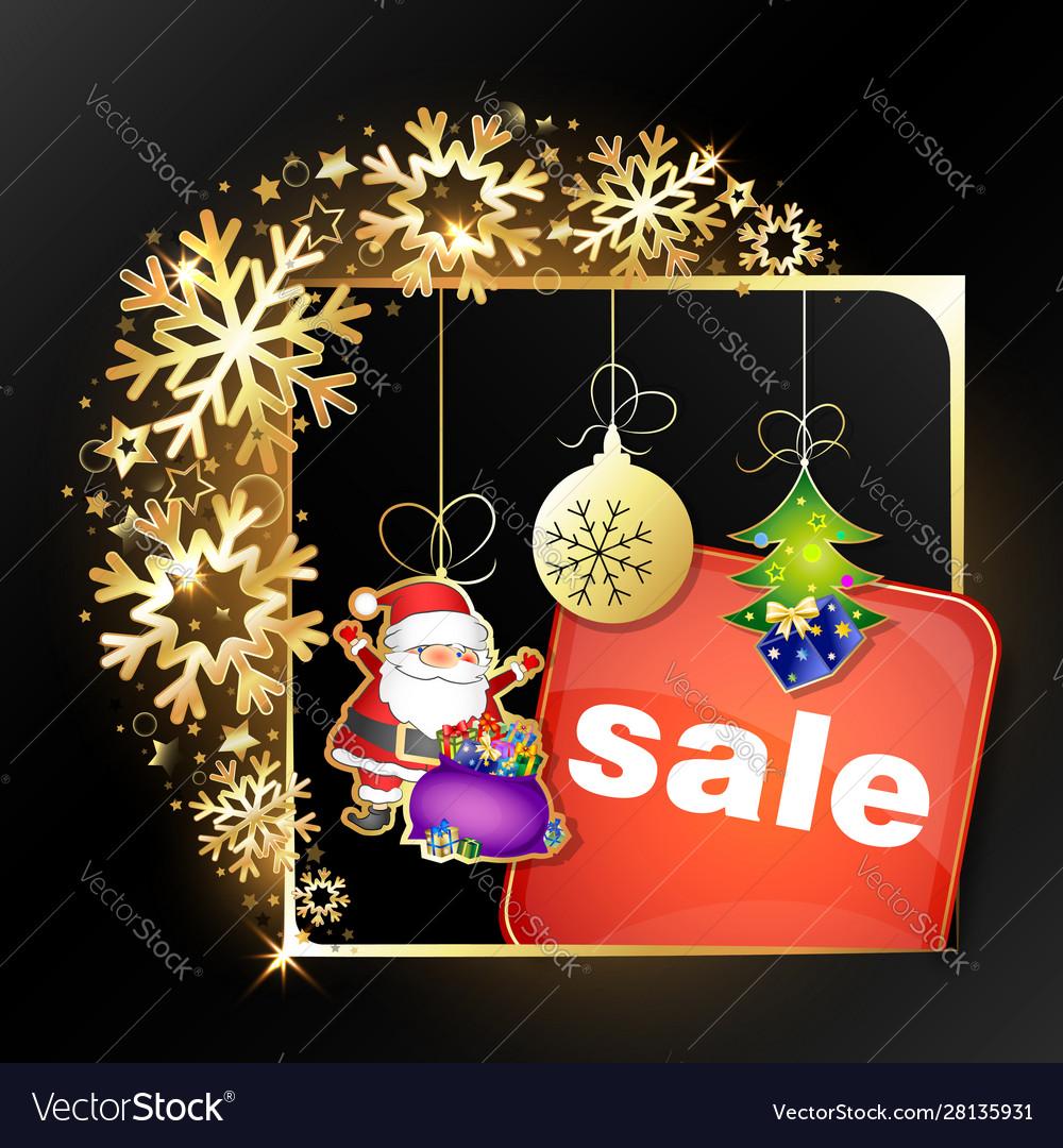 Christmas sale golden snowflakes frame