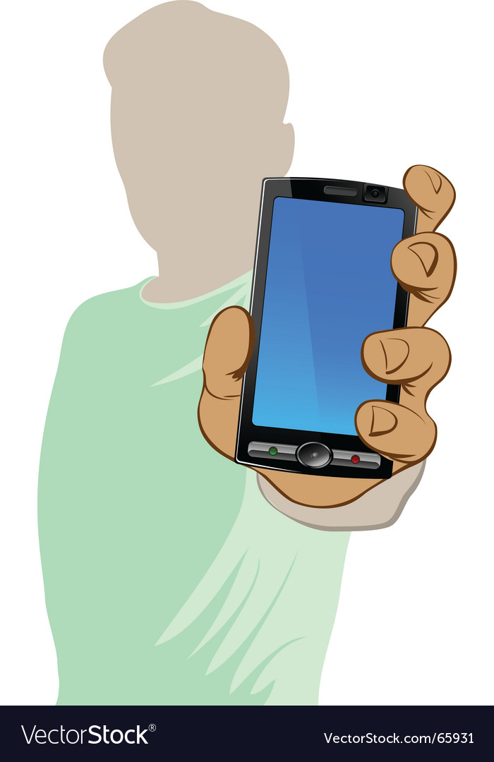 Man and mobile vector image