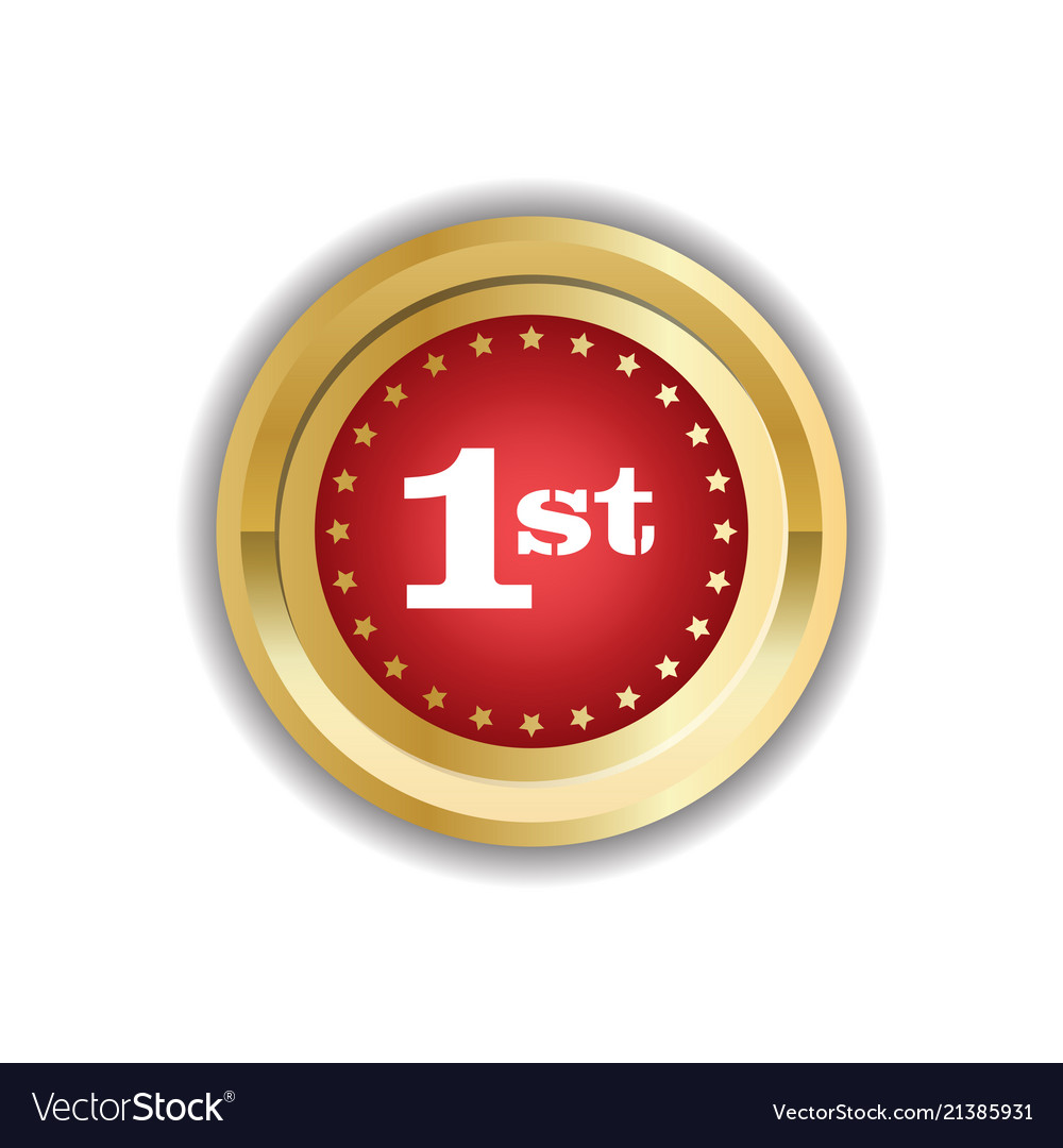 Number one first place golden medal icon isolated