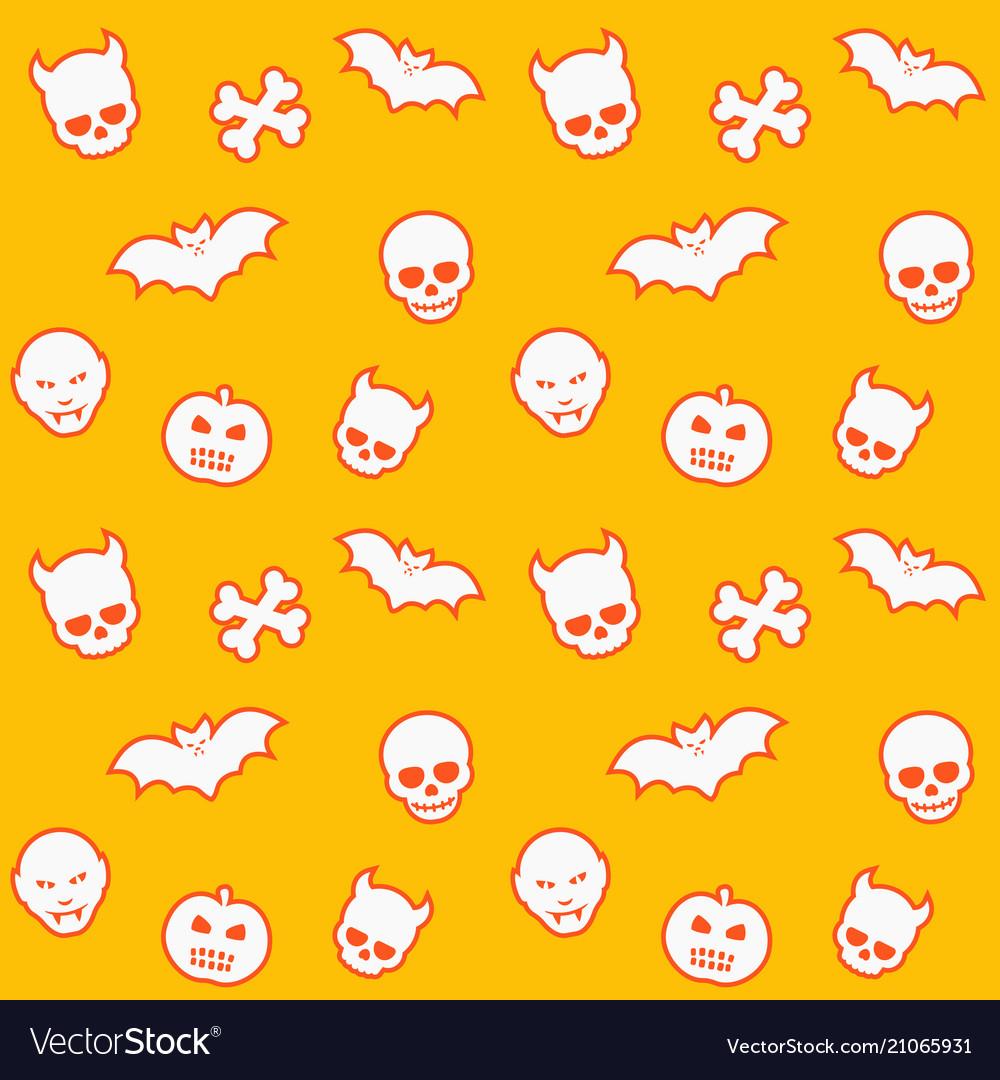 Seamless pattern skulls bats pumpkins vampires