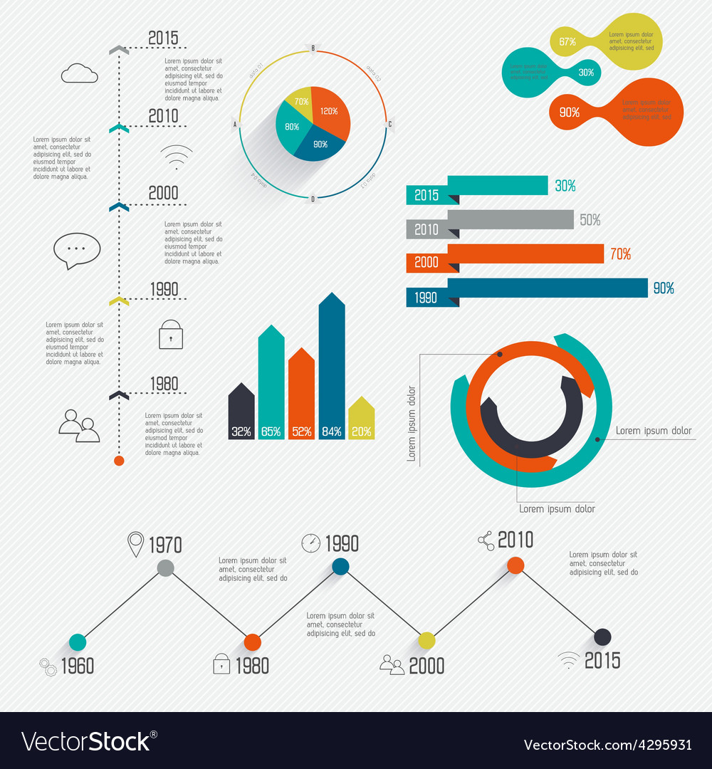 set of timeline infographic design templates vector image