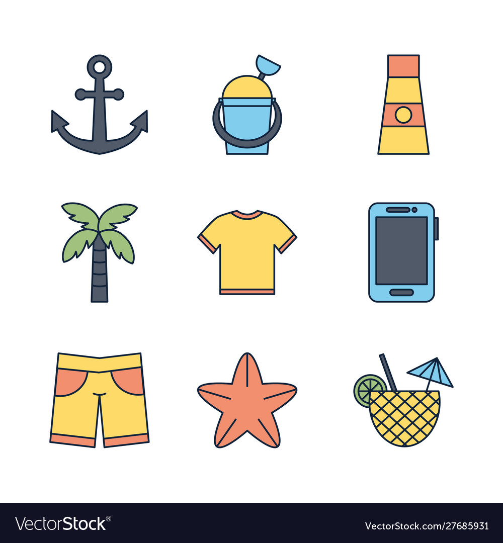 Tourism travel time summer icons set
