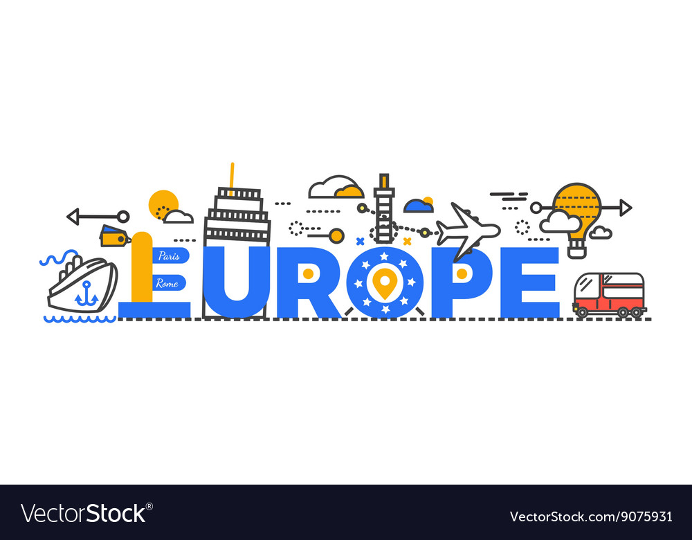 Travel Europe Word Text Creative Design
