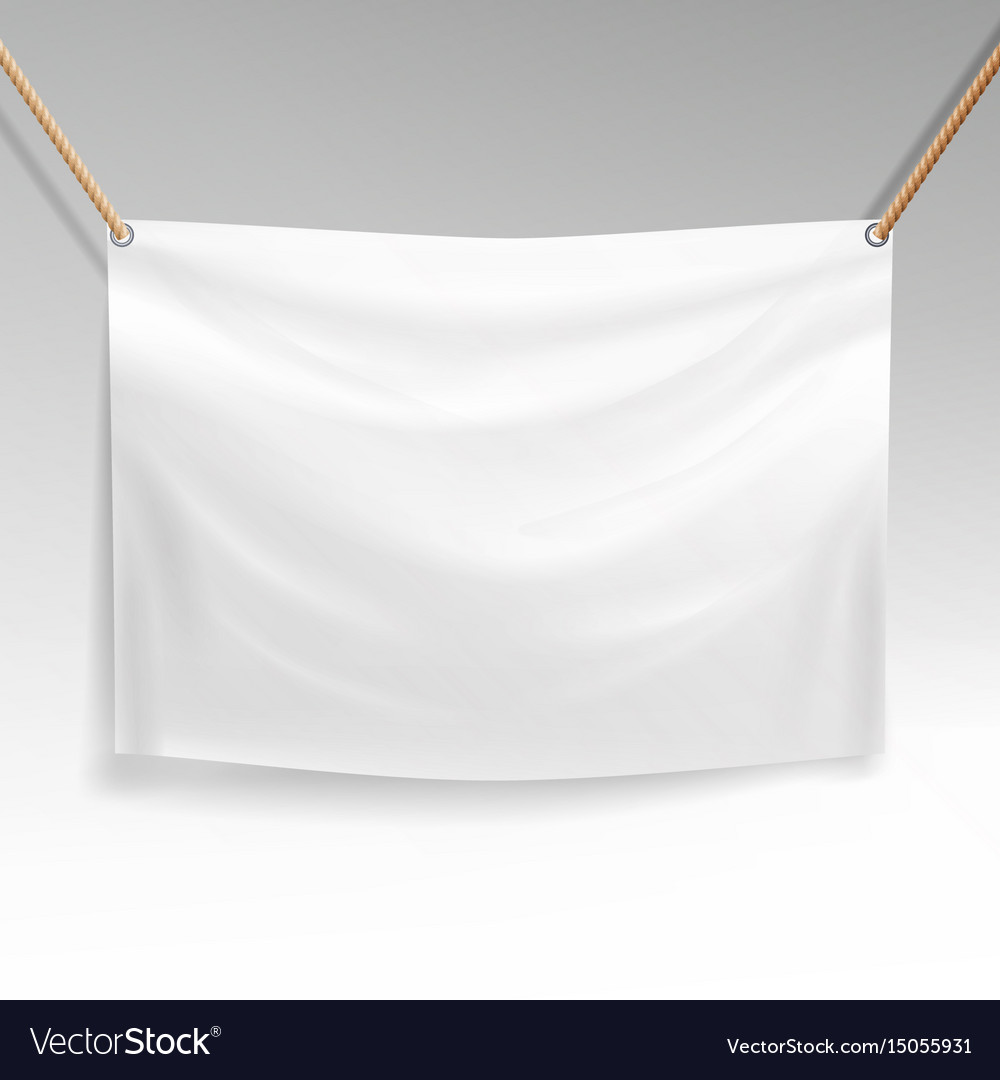 White banner with ropes realistic clear