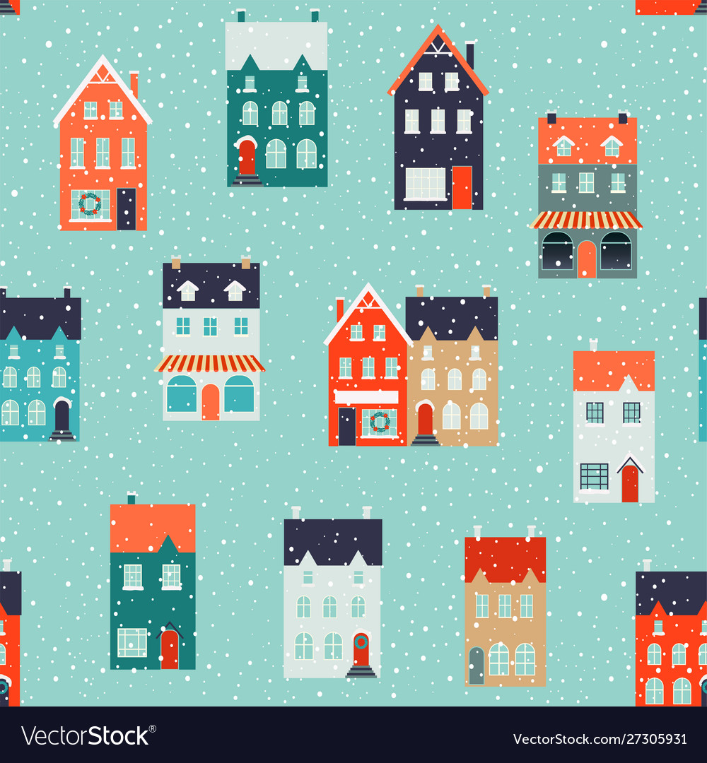 Winter houses for christmas and christmas fabrics