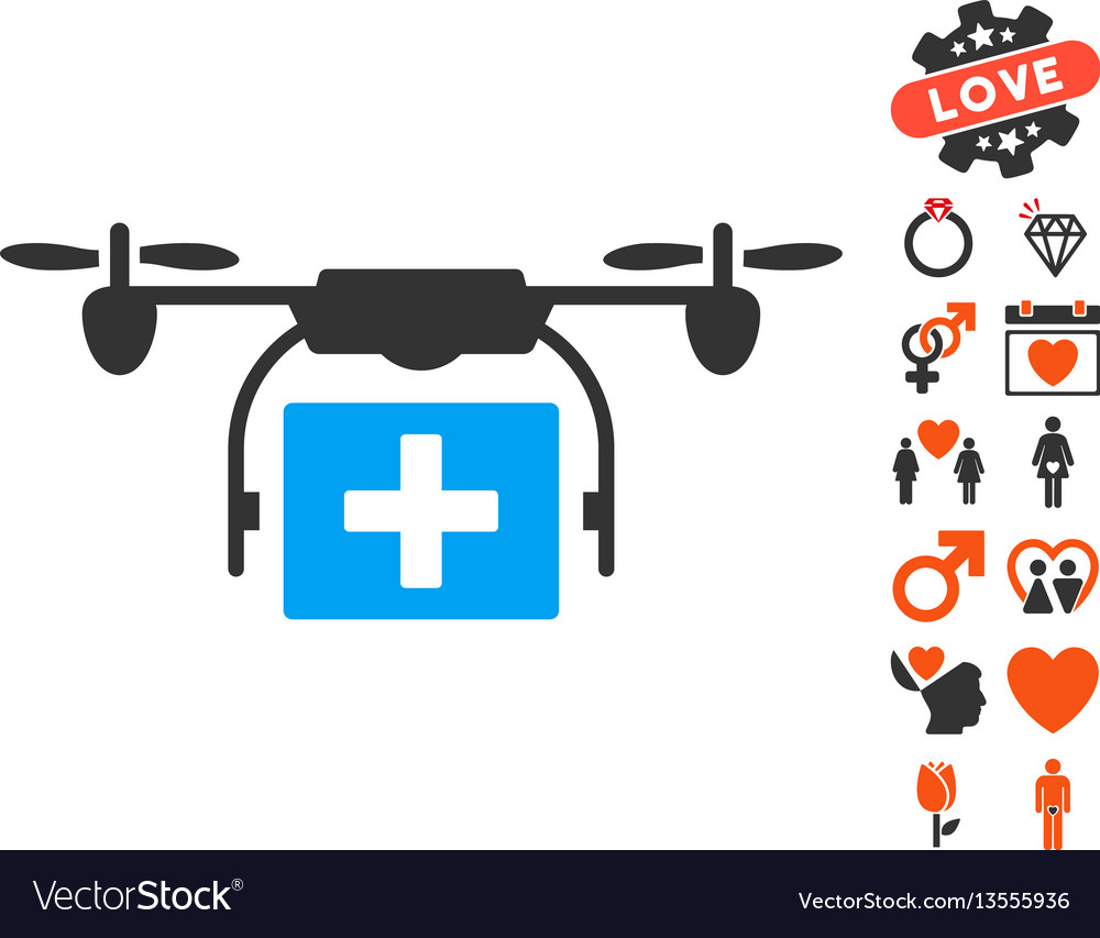 Ambulance drone icon with love bonus