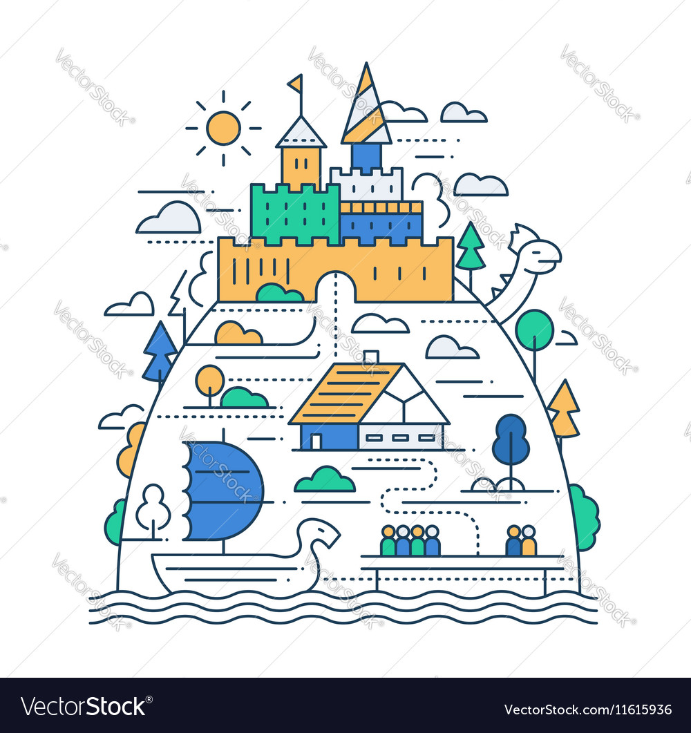 Ancient City Life - line design composition vector image