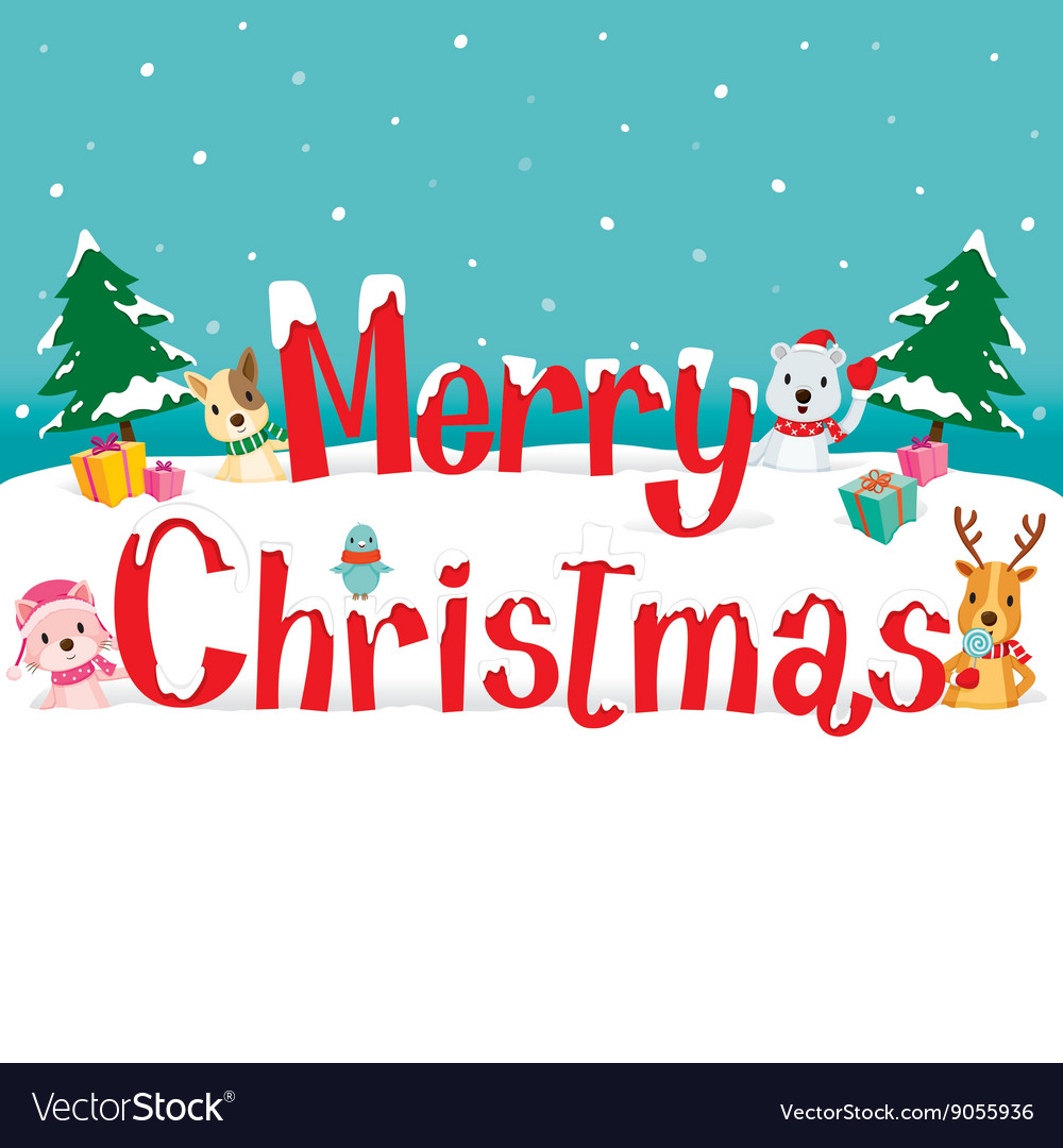 Merry Christmas Animals.Animals And Merry Christmas Text