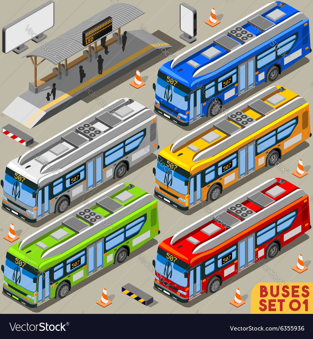 Bus Set 01 Vehicle Isometric vector image