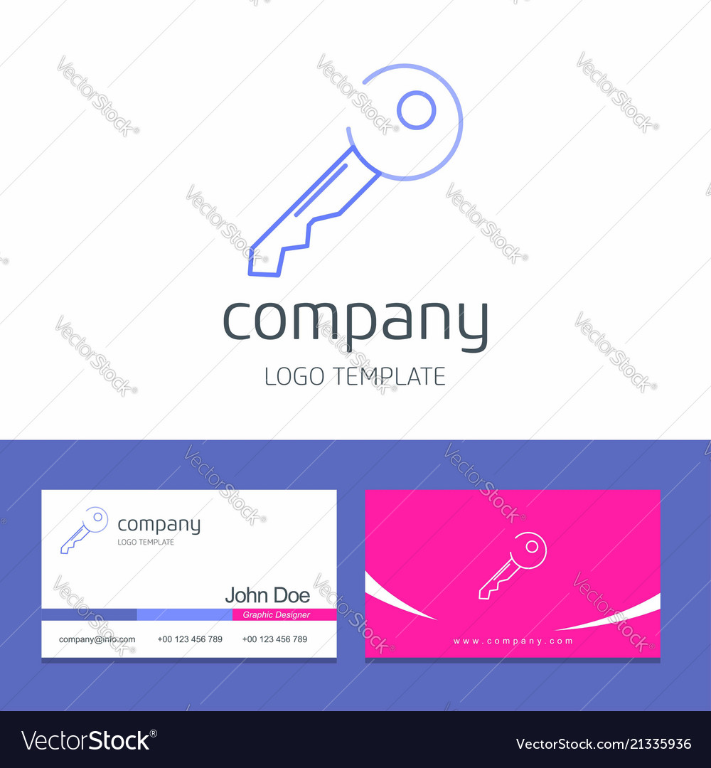 Business card design with key company logo vector image reheart Choice Image
