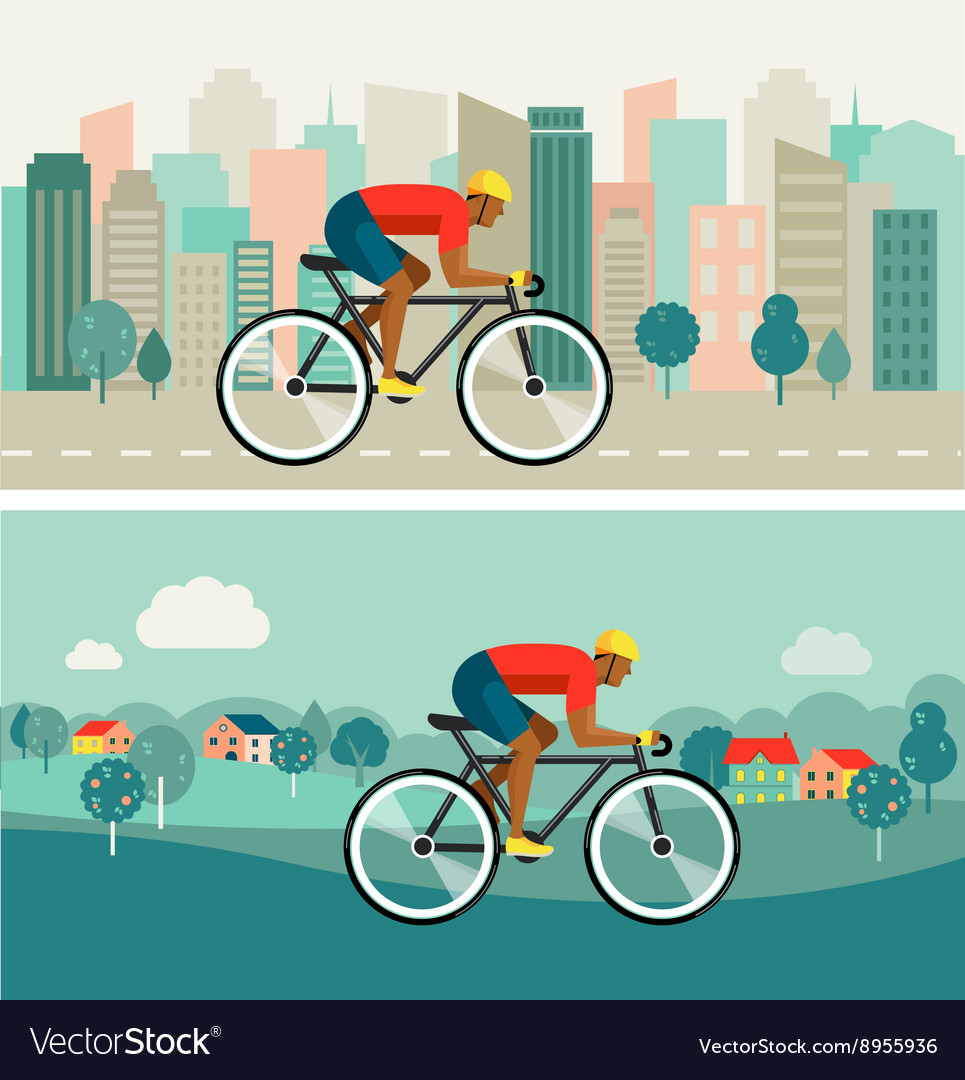 Cyclist riding on bicycle on city and countryside