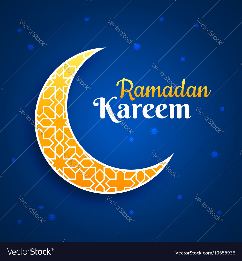 Eid Mubarak Greeting Card Crescent Moon On Blue Vector Image