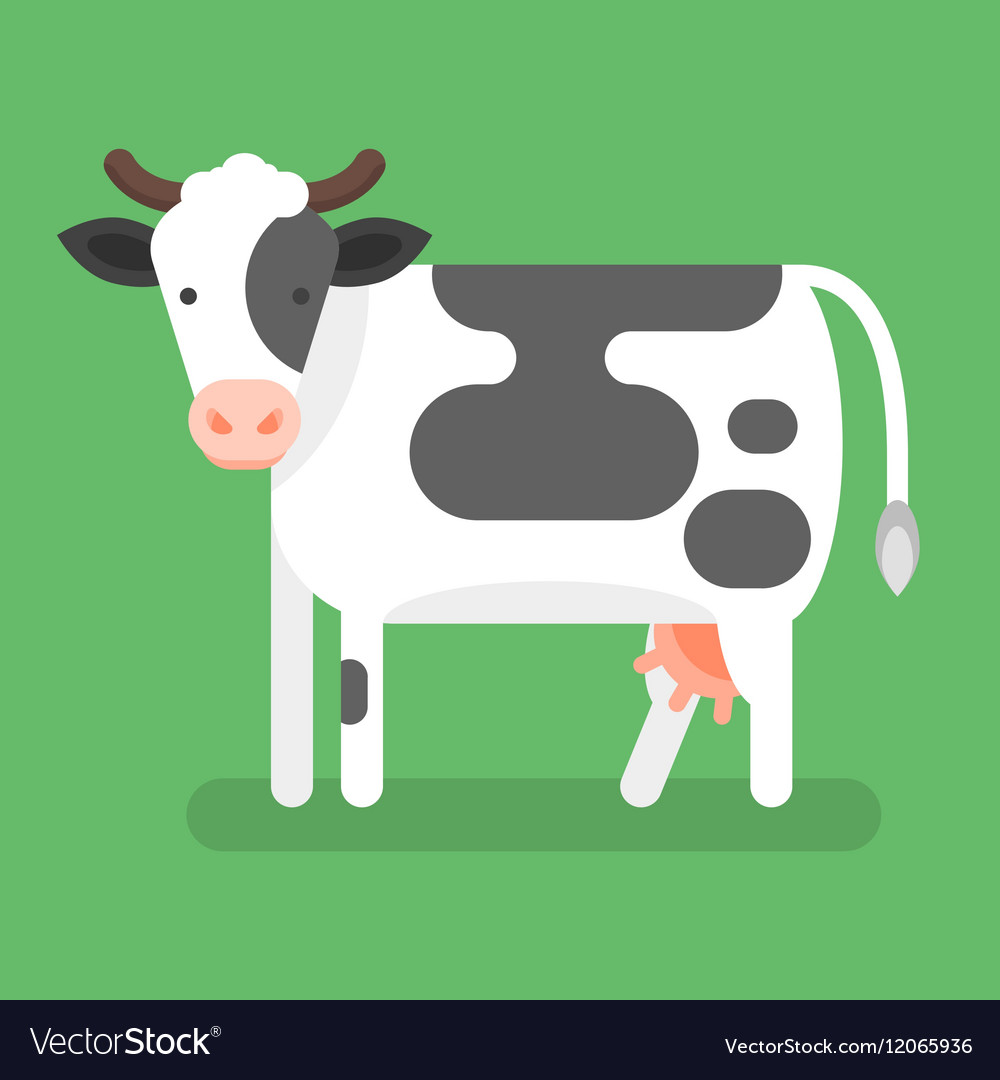 Flat style of cow Isolated on green background