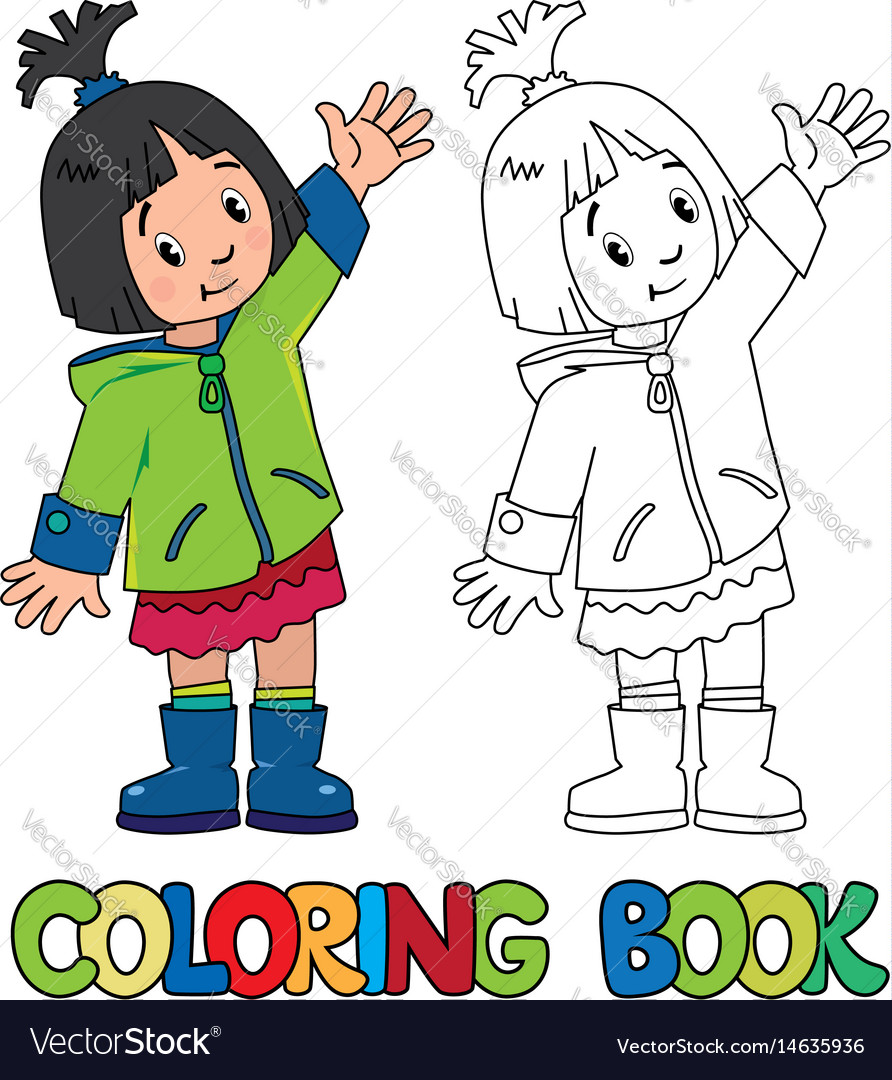 Funny little girl coloring book