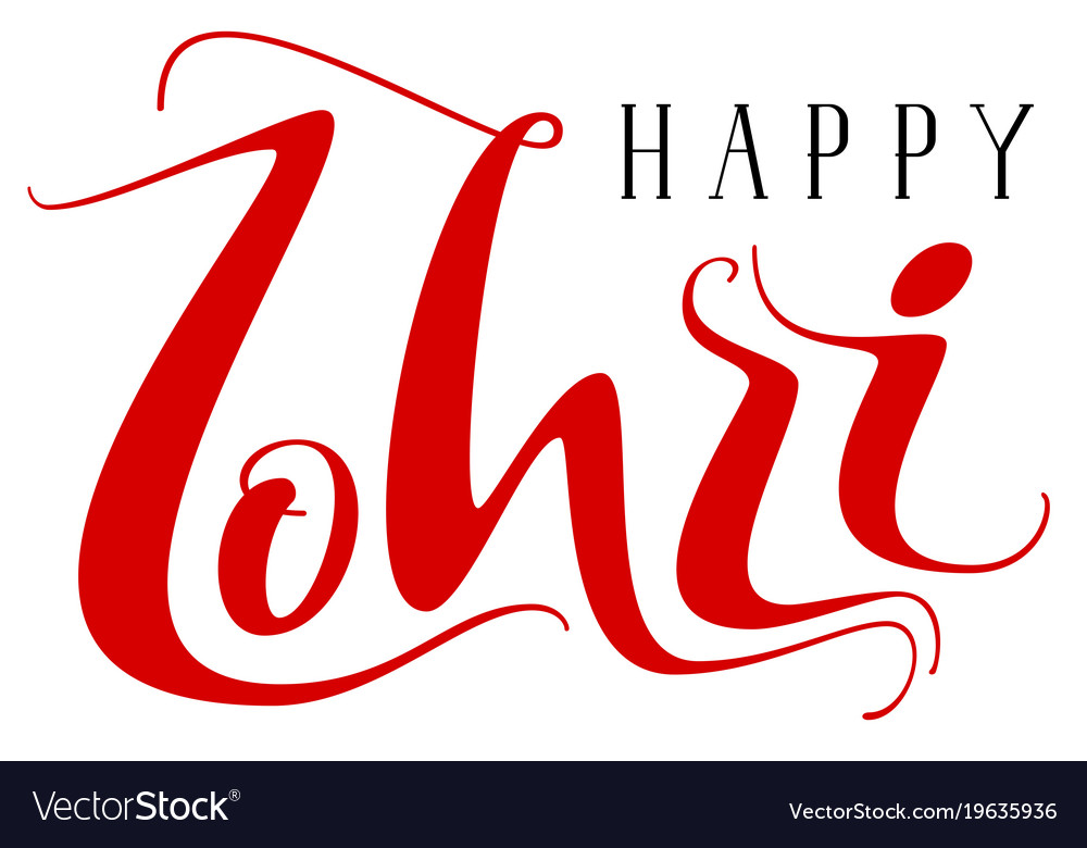 Happy lohri indian holiday handwritten text for